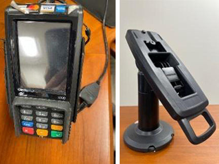 Photo collage of a credit card swipe machine and it's swivel stand.