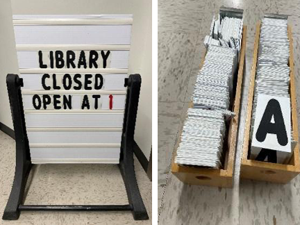 Photo collage of a white swinging sign with slots on a black base, and two boxes of black letters on white backing.